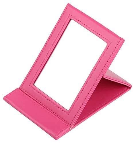 XGJ Espejo portátil de tocador de Mesa, Espejo de tocador Plegable, Espejo de Maquillaje de Viaje (17.5X 11 cm) (Color : Pink)