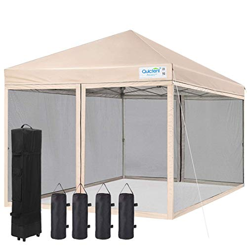 Quictent 10×10 Ez Pop up Canopy Tent with Mosquito Netting Instant Setup Screen House Room Tent Gazebo Waterproof, Roller Bag & 4 Sand Bags Included (Beige)