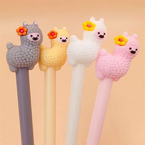 12 Pcs Cartoon Animal Alpaca Llama Gel Pen Neutral Pens For School Writing Office Supplies Kids Stationery Gift (A)