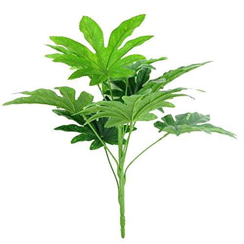 Kalaokei 9 Blätter/1 Stück künstliche grüne Pflanze Fatsia-Blatt Simulation Bonsai Heimdekoration – Grün