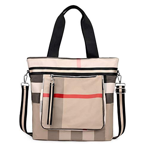 YuJian12 Handbag all-match outdoor travel backpack large capacity crossbody striped shoulder bag Casual Handbag (Color : Khaki)