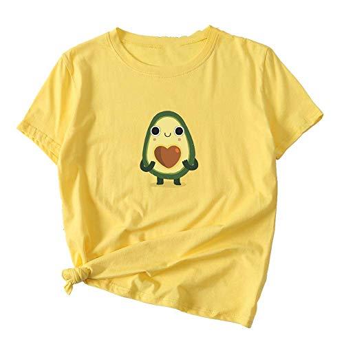 NOBRAND Moda Aguacate Impreso Policromado Slim Algodón Camiseta Mujer