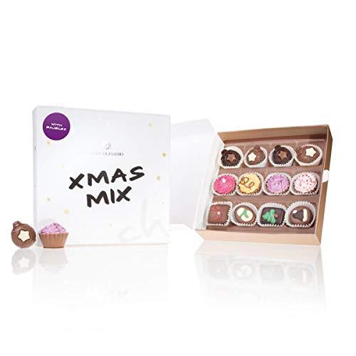 Xmas Mix 'Weihnachtskugeln' - zwölf handgemachte Pralinen in Schachtel - Geschenk - Weihnachten - Schokolade