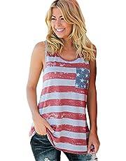 JIER Liquidación Tops Casuales para Mujer Blusas anudadas torcidas Manga Corta Cuello Redondo Túnica 4 de Julio EE. UU. Camiseta con Bandera Estadounidense