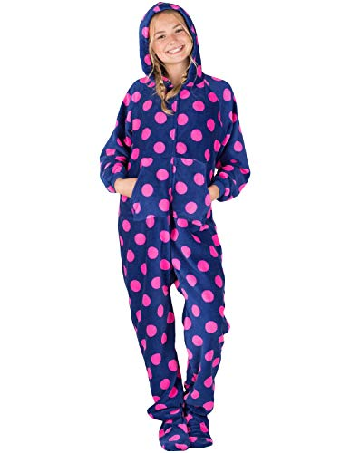 Footed Pajamas - Navy Pink Polka Kids Hoodie Chenille Onesie (Kids - XLarge (Fits 5'0-5'3'))