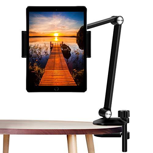 """Tablet Stand Holder, ZEXMTE Adjustable Desktop Tablet Holder Mount Foldable Phone Stand with 360° Swivel Phone Clamp Mount Holder,Stable Tablet Stand for iPad 4.7-12.9"""" Tablets/Phones-- Black"""