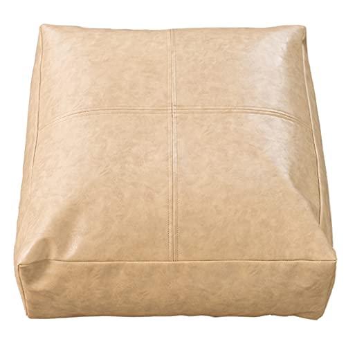 RenShiMinShop Puff Osmanische Ölwachs Leder Textur Hocker Hocker Square Poufs Mit Reißverschluss Tatami Hocker Bodenkissen Sofa Hocker Für Wohnzimmer (Color : Beige, Size : 55 * 55 * 15cm)