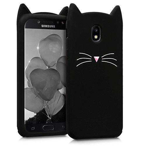 kwmobile Schutzhülle kompatibel mit Samsung Galaxy J5 (2017) DUOS - Hülle Handy - Handyhülle - Silikon Cover Hülle Katze Schwarz Weiß