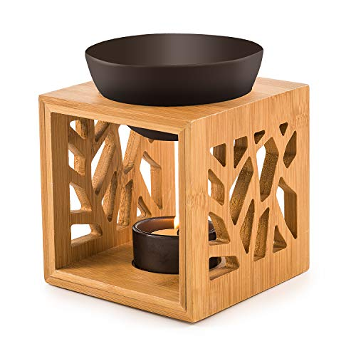 pajoma Bambus/Keramik Duftlampe ''Pattern II'' in schwarz, L 12 x B 12,2 x H 12 cm