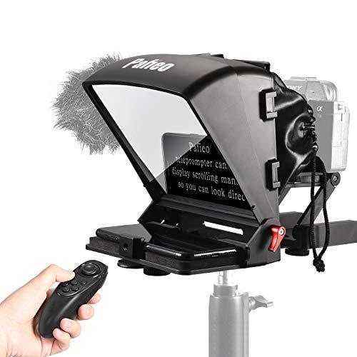 Pafieo Teleprompter para Smartphone Tablet Cámara DSLR, Teleprompter Entrevista de transmisión en Vivo con Mando a Distancia y Cabeza inclinable Z