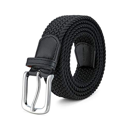 MOZETO Stretch Belts for Men, Elastic Braided Canvas Woven Golf Casual Mens Belt, Elegant Box Gifts for Men