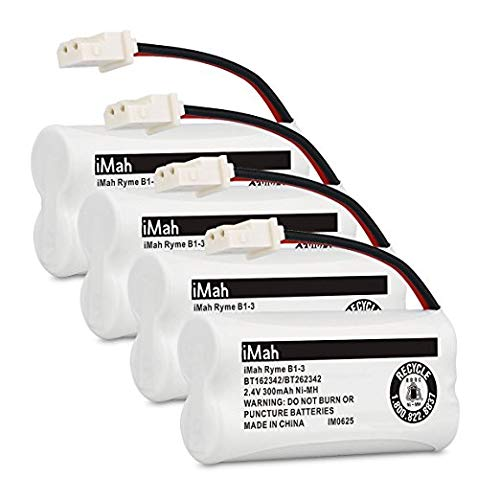 iMah BT162342/BT262342 2.4V 300mAh Ni-MH Cordless Phone Batteries Compatible with VTech CS6719 CS6114 CS6409 CS6419 CS6429 AT&T CL80112 EL52300 EL52400 Handset Telephone, Pack of 4