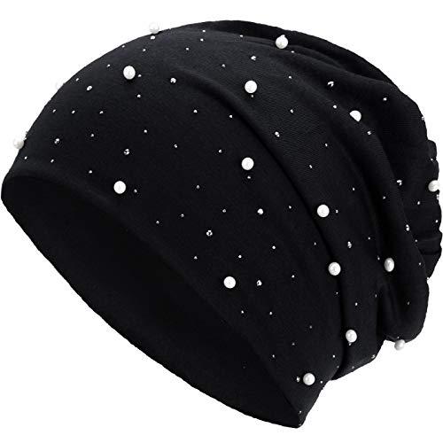 Compagno Slouch Beanie mit Perlen aus atmungsaktivem, feinem und leichten Jersey Unisex Damen Mütze Haube Boho Bini Mädchen Einheitsgröße, Farbe:Schwarz