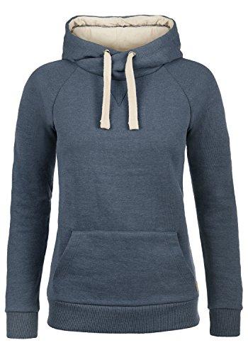 BlendShe Julia Damen Damen Hoodie Kapuzenpullover Pullover Mit Kapuze Und Cross-Over-Kragen, Größe:M, Farbe:Navy (70230)