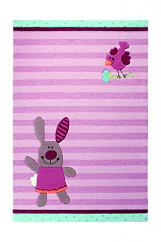 Sigikid Kinderteppich 3 Happy Friends Stripes   rose   120 x 180 cm