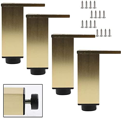Piernas de mesa de metal 4x, patas de muebles de aleación de aluminio, piernas de sofá de oro, patas de mesa de escritorio ajustables de altura, patas de gabinete, patas de mesa de café, fácil de ins