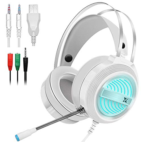 Gaming Headset with Mic and Changeable LED Light for Laptop,Computer, Cellphone, PS4 and Xbox, DLAND 3.5mm Wired Noise Isolations Gaming Headphones with Volume Control-White