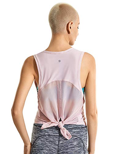 CRZ YOGA Mujer Camiseta de Malla sin Mangas de Yoga Fitness Deportiva Rosa Gris 36