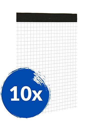 Landre Notizblöcke A6 kariert ohne Deckblatt, 50 Blatt, 10er Pack