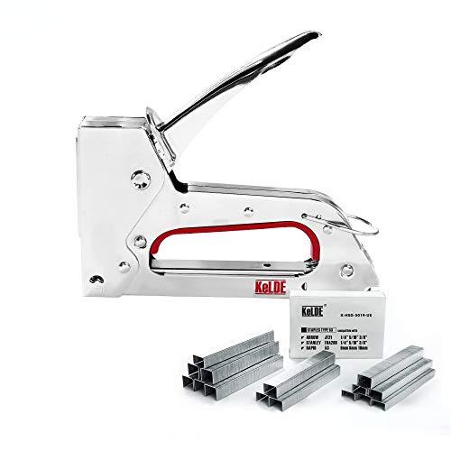 Hand Staple Gun Kit, KeLDE Light Stapler Tacker fit JT21 Staple, Includes 1500pcs 1/4, 5/16, 3/8 Inch Staples Set for Upholstery, DIY, Furniture, Material Repair, Carpentry, Decoration