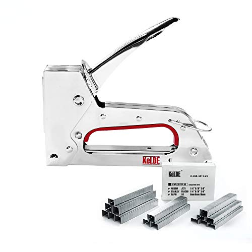 Hand Staple Gun Kit, KeLDE Light Stapler Tacker fit JT21 Staples, Includes 1500pcs 1/4, 5/16, 3/8 Inch Staples Set