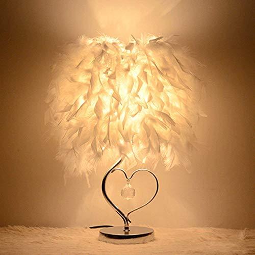LED Nachttischlampe, ALLOMN Tischlampe Herzform Lampenschirm Nachttischlampe Schreibtischlampe mit Federn Kristall Europäischen Stil Dekoration Herzform Kristallanhänger mit E27 Birne, EU Stecker