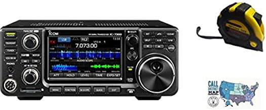 Bundle - 3 Items - Includes Icom IC-7300 100W HF Transceiver with the New Radiowavz Antenna Tape (2m - 30m) and HAM Guides Quick Reference Card