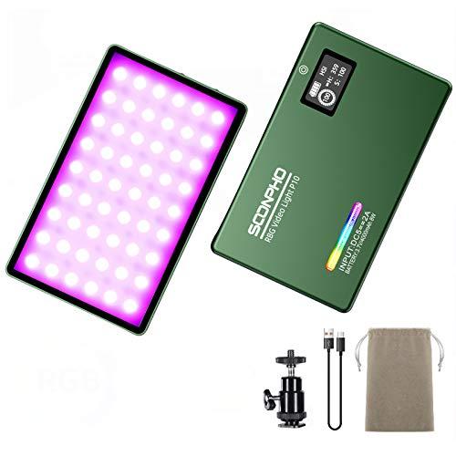 RGB LED-Videoleuchte,On-Kamera Fotografie Licht,Eingebautem 4000-mAh-Akku,8W 360 ° -Farbbeleuchtung Mini-Taschenlicht für DSLR Camcorder Smartphone YouTube-Video Selfie (2500K-8500K, CRI 96 +)