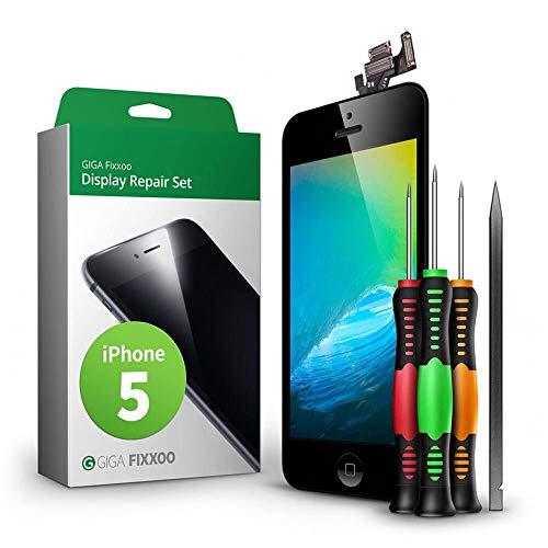 GIGA Fixxoo Kit di Ricambio per Schermo di iPhone 5, Completo con LCD Nero, Touch Screen Display Retina in Vetro, Fotocamera e Sensore di Prossimità - Guida Illustrata per Riparazione Facile & Veloce