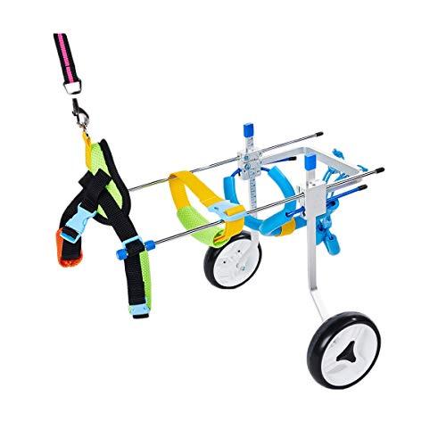 SPT 2-Rad Einstellbarer Hunde-Rollstuhl-Tier-Rollstuhl für behinderte Hinterbeine kleine Hundekatze/Doggie/Welpen-Gehen