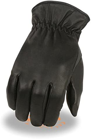 Men's gift Leather Thermal Lined Gloves L Wrist Cinch Black Sale price w