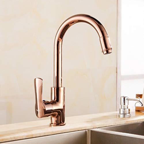 S$S Europese gouden keukenkraan wastafel waterkraan koper warm en koud eengat montage roségoud wastafel kraan