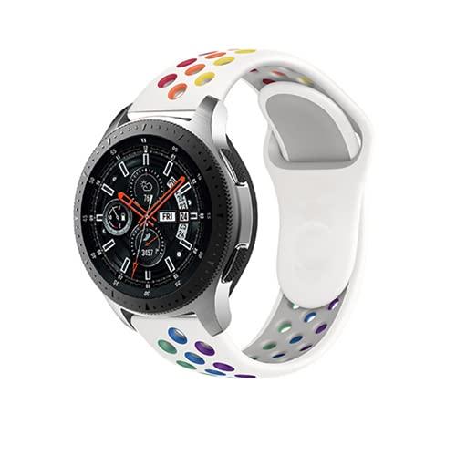 Rosok Transpirable Watch Correa Compatible con Samsung Gear S3 Frontier / Gear S3 Classic, Deportivas de Silicona Arco Iris Correas de Repuesto para Galaxy Watch 3 45mm / Watch 46mm (22mm) - Blanco