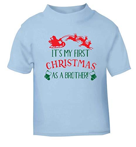 Flox Creative T-Shirt pour bébé First Christmas as a Brother Noir - Bleu - 6-12 Mois