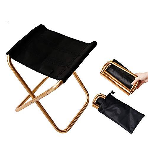 XIAOHE Chaise Pliante Portable extérieure, Cadre en Aluminium Ultra léger, siège Noir en Oxford, Jardin de Plein air pour la pêche Sportive,Gold