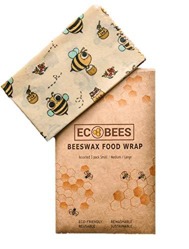 EcoBees Pellicola in Cera d'Api per Alimenti Ecologica Riutilizzabile - Confezione Mista 3 Taglie - Beeswrap è un'Alternativa sostenibile senza plastica
