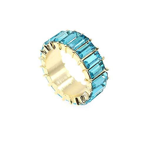 Correa Baguette Arcoiris Anillo Eternity Band Cubic Zirconia Anillo Joyas chapadas en oro Joyas de lujo Cristal Cocktail Anillos para mujeres Chica regalo (Azul dorado, 6)