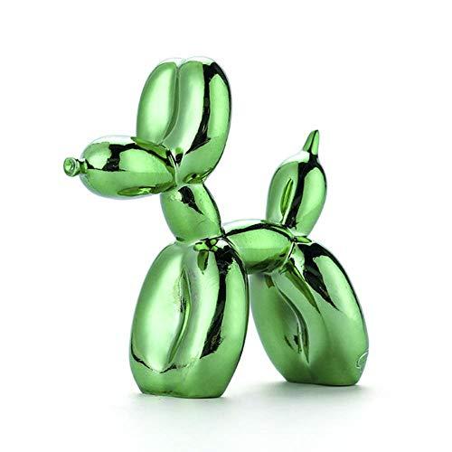 FGHHJ Ornamenti Statue Decorativi Shiny Balloon Dog Abstract Crafts Resin Statue Home Decor Art Sculpture Home Decoration Accessories Green 17 X 7Cm