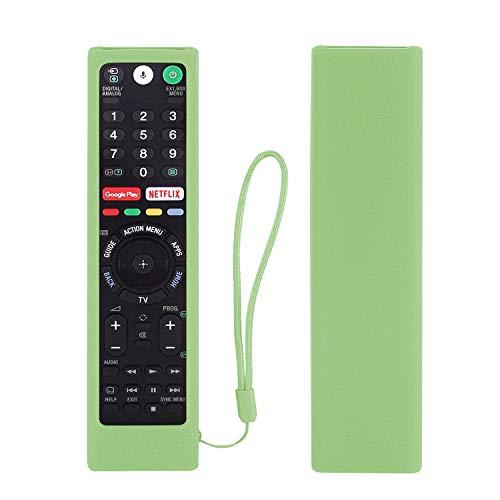 Schutzhülle aus Silikon für Sony RMT-TX102U RMF-TX200U RMT-TX200U RMF-TX300U Smart Android TV Voice Remote Controller, waschbar, Anti-Verlust-Fernbedienung, mit Schlaufe (leuchtet in Dunkelgrün)