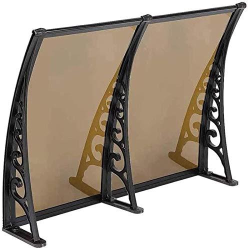 MYHFEQ 39'x39 Puerta de toldo del toldo del toldo Súper Cargando PC Brown PC Puerta de la Placa sólida Sunde con 3 Soporte de aleación de Aluminio Negro, para protección UV/Nieve de Lluvia