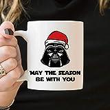DKISEE - Tazza da tè divertente con Darth Vader, con scritta 'May The Season Be With You', divertente regalo di Natale Darth Vader Coffee Coffee Tea Mug