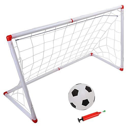 Conjunto de objetivos de fútbol juvenil: objetivos plegables de patio trasero / interior con balón de fútbol de 3.9 ``, redes y juego de práctica de práctica de juguete para niños, 47 '' x 28