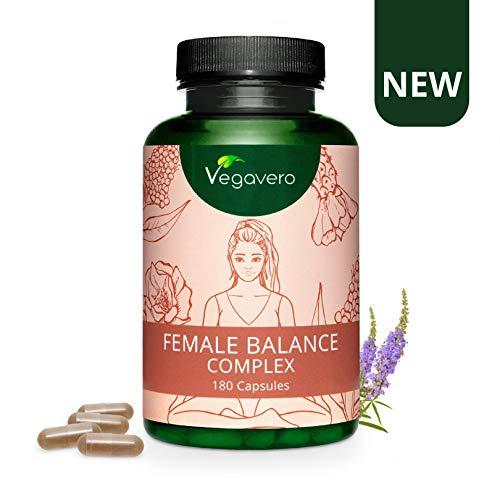 FEMALE BALANCE Vegavero | Squilibrio Ormonale, PMS, Estrogeni | con Agnocasto, Alchemilla, Flavonoidi, Maca rossa, Minerali e Vitamine B | 180 capsule | Vegan
