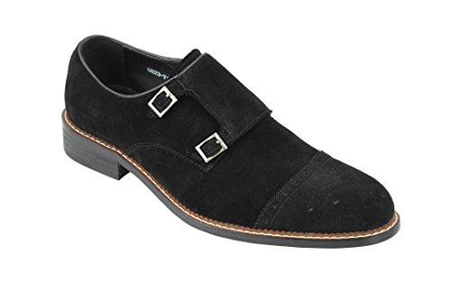 Hombres Negro Marrón Real Gamuza Doble Hebilla Retro de la Mod de los Holgazanes de los Zapatos de la Vendimia [Q823-Y11-BLACK-41]