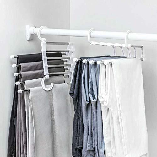 JIJI886 Appendiabiti Gancio Appendini Pieghevole in Acciaio Inox Antiscivolo Usato per Pantaloni/Scialli/Sciarpe Etc Appendiabito Magic Hanger Clothes Hook (Bianco)