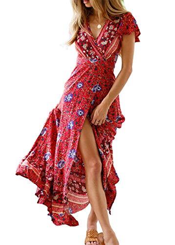 Alleen Damen Boho Maxikleider V-Ausschnitt Blumendruck Kurzarm Kleid (L, Rot)