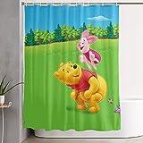 milkcolor Lustiger Stoff-Duschvorhang Winnie The Pooh & Schwein Wasserdichtes Badezimmer-Dekor mit Haken 60 x 72 Zoll
