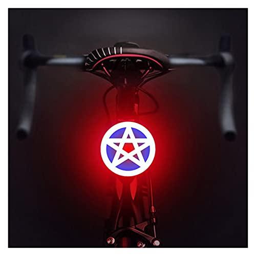 liutao Luz Bicicleta Luz de Bicicleta USB Recargable Bicicleta Luz Lámpara Lámpara Linterna Luces Luces de Ciclismo Trasero para Asiento MTB Accesorios de Bicicletas Ciclismo (Color : Star Shape)