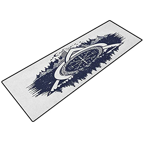 Laundry Room mat Runner, Celtic Knot with Tridents Forest and Mountains Scandinavian Culture, Floor Rug for Bedroom Kitchen Living Room 18 x 30 Inch, Dark Blue White