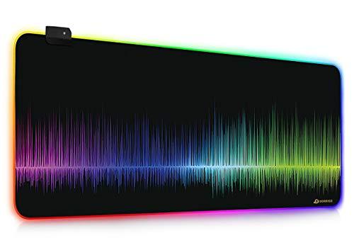 DORRISO Das Neue RGB Gaming Mauspad Große 900x400 mm 900x300 mm XXL XL Schreibtischunterlage LED Mousepads Wasserdicht Anti Rutsch Matte für Computer PC Professionelle Gamer Gaming Mousepad Bunt A